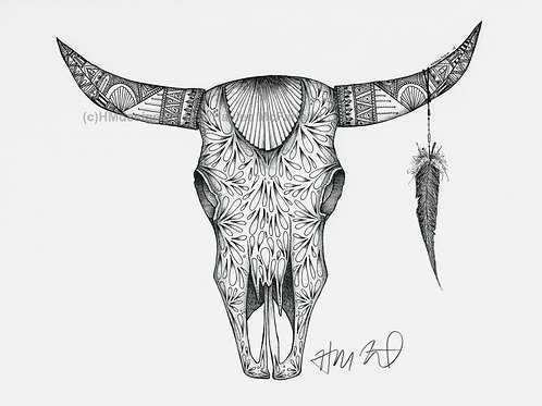 Black/White Long Horn Skull #2 Print, Handdrawn Pen and Ink by Haylee McFarland