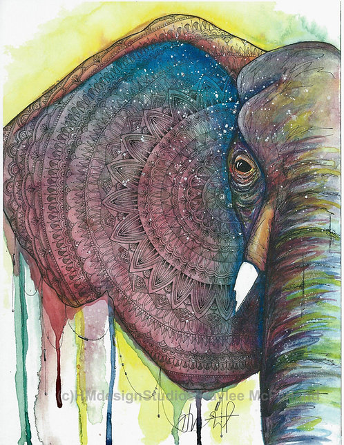 Cosmic Half Elephant, Watercolor and Pen and Ink by Haylee McFarland