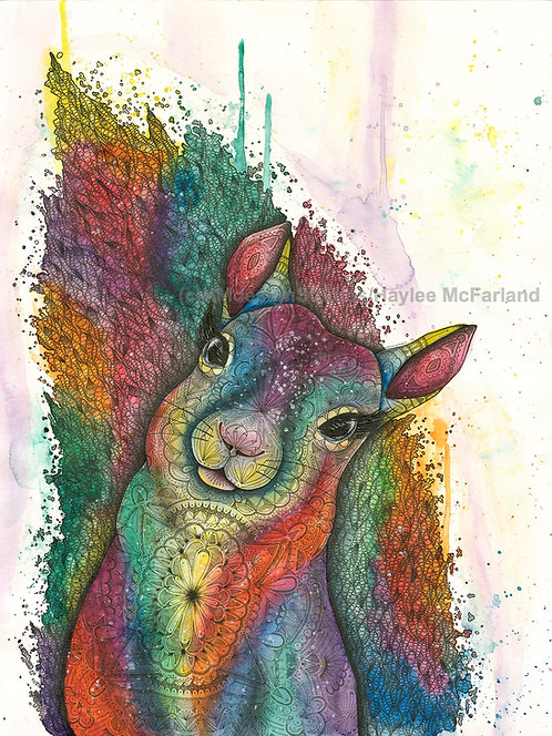 Cosmic Squirrel ORIGINAL Watercolor and Pen & Ink by Haylee McFarland