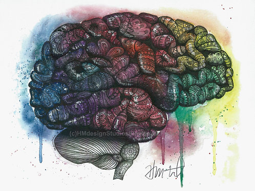 Cosmic Brain Print, Watercolor and Pen and Ink by Haylee McFarland