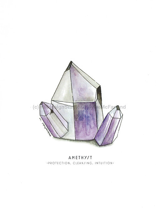 Amethyst Crystal Greeting Cards, Watercolor and Pen & Ink by Haylee McFarland