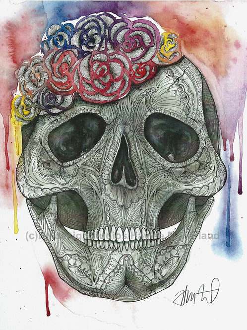 Sugar Skull Print, Watercolor and Pen and Ink by Haylee McFarland