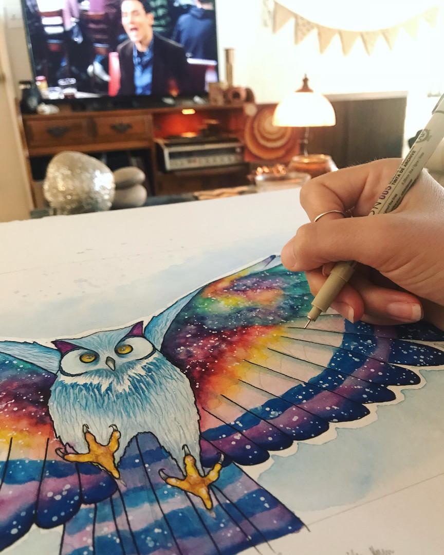 Inking the Cosmic Owl