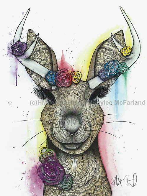 Adorable Jackalope Print, Watercolor and Pen and Ink by Haylee McFarland