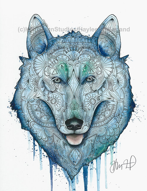 Adorable Cosmic Hope Husky Print, Watercolor and Pen and Ink by Haylee McFarland