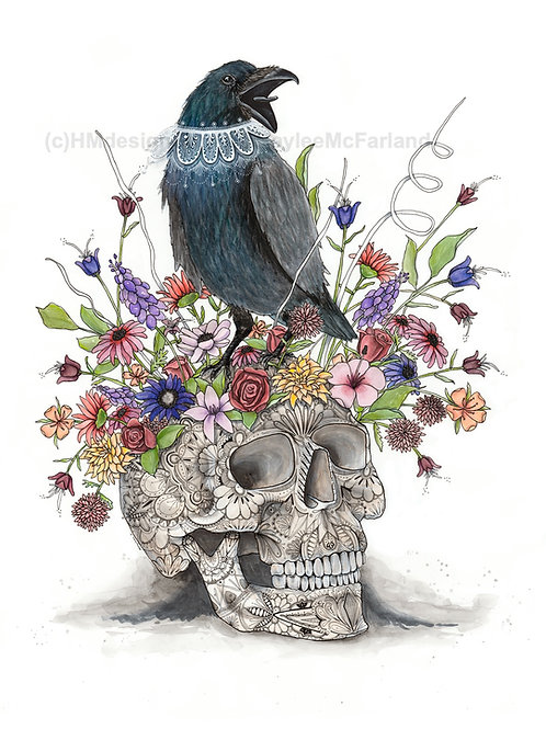 Crow and Skull ORIGINAL, Watercolor and Pen & Ink, by Haylee McFarland