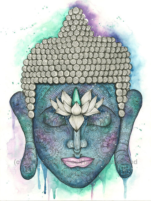LIMITED EDITION PRINT Cosmic Buddha Watercolor and Pen & Ink by Haylee McFarland