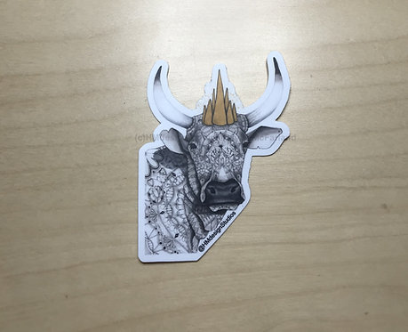 Year of the Ox with Crown, Vinyl Sticker, artwork by Haylee McFarland