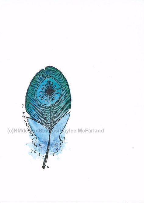 Blue Raspberry Feather Inspirational Card by Haylee McFarland