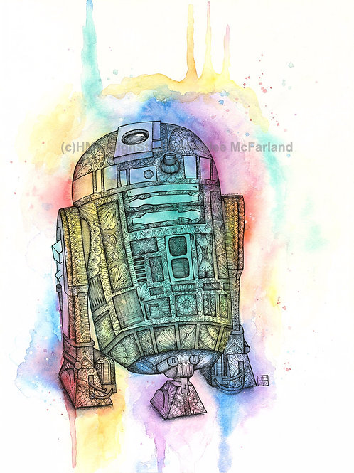 Rainbow R2D2 Print, Watercolor and Pen and Ink by Haylee McFarland