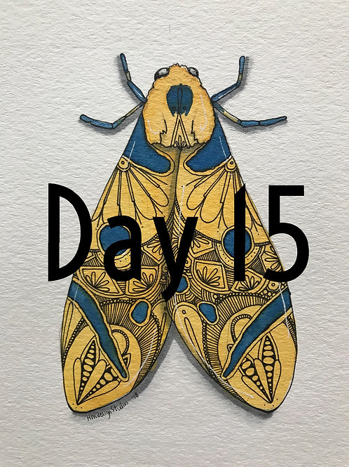 Moth ORIGINAL Watercolor and Pen & Ink by Haylee McFarland