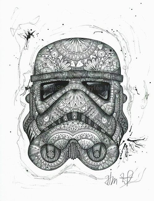 Black and White Stormtrooper ORIGINAL, Pen and Ink by Haylee McFarland