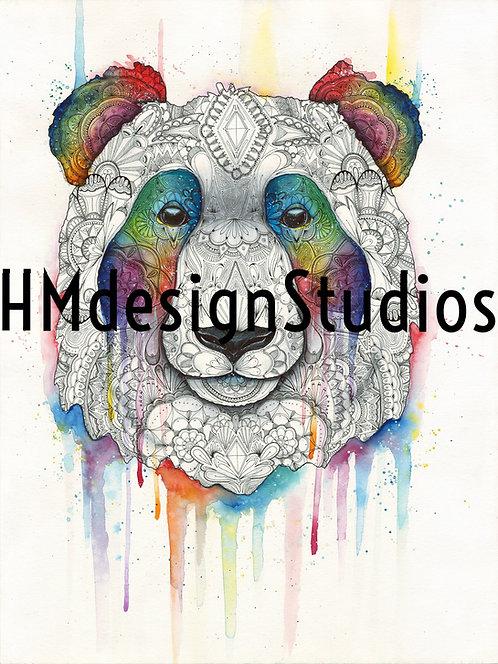 Cosmic Panda ORIGINAL, Watercolor and Pen & Ink, by Haylee McFarland