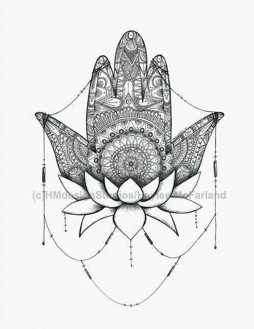 Black and White Hamsa Print, Pen and Ink by Haylee McFarland