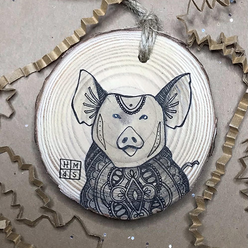 Cute Pig Ornament, ORIGINAL liquid acrylic and pen & ink, by Haylee McFarland
