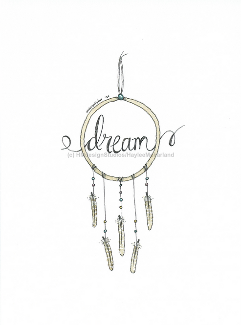 Dream Catcher Greeting Card, Watercolor and Pen & Ink by Haylee McFarland