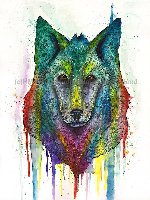 Cosmic Wolf Print, Watercolor and Pen and Ink by Haylee McFarland