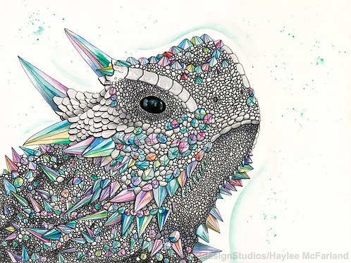 LIMITED EDITION PRINT Crystal Horned Frog, Watercolor, Pen & Ink by H. McFarland