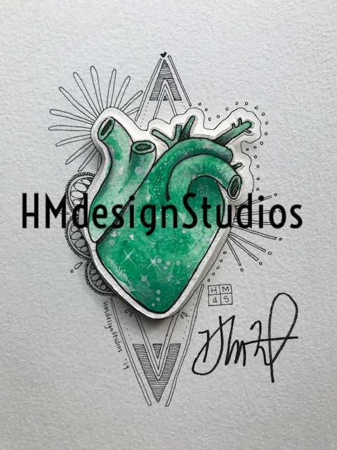 ORIGINAL Green Cosmic Anatomical Heart, Watercolor-Pen-Ink by Haylee McFarland