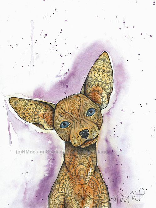 Adorable Chihuahua Print, Watercolor and Pen and Ink by Haylee McFarland