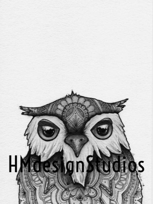 Adorable Owl Print, Watercolor and Pen & Ink, by Haylee McFarlan