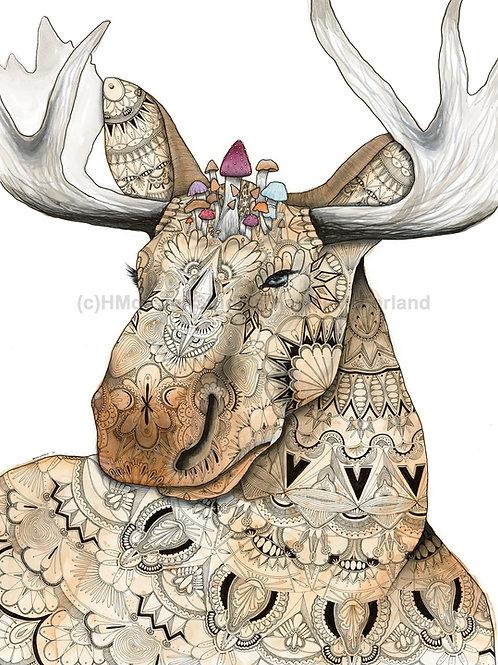 Moose with Mushrooms ORIGINAL, Watercolor and Pen & Ink, by Haylee McFarland