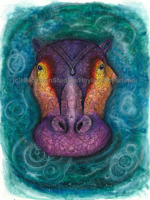 Cosmic Hippo Print, Watercolor and Pen and Ink by Haylee McFarland