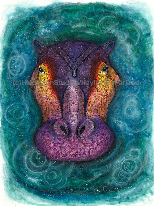 Cosmic Hippo ORIGINAL, Watercolor and Pen & Ink by Haylee McFarland