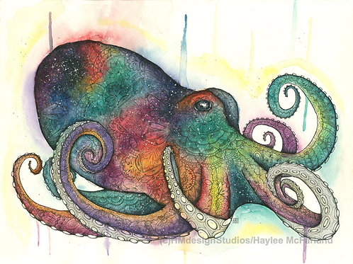 LIMITED EDITION PRINT Cosmic Octopus Watercolor & Pen & Ink by Haylee McFarland