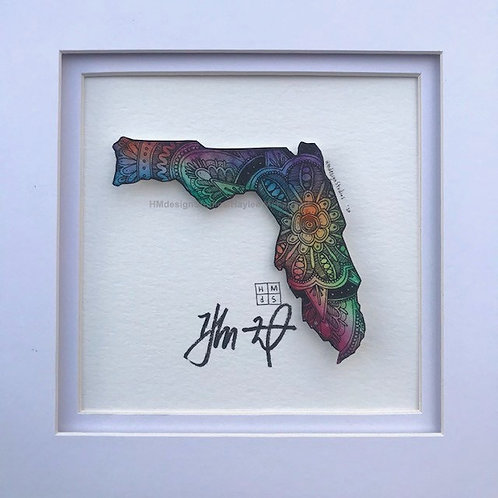 ORIGINAL Florida State Shape, Watercolor and Pen & Ink by Haylee McFarland