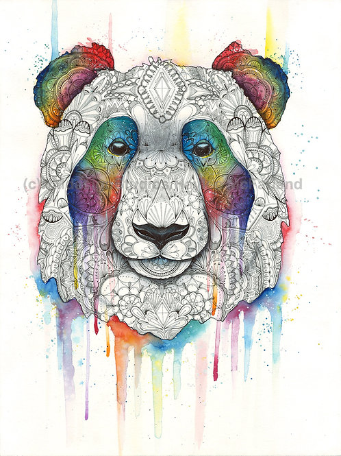 LIMITED EDITION PRINT Cosmic Panda, Watercolor and Pen & Ink by Haylee McFarland