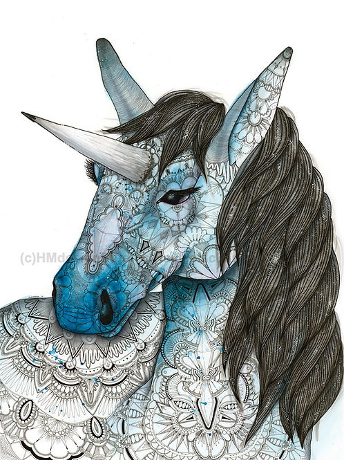 Cosmic Unicorn Print, Watercolor and Pen and Ink by Haylee McFarland