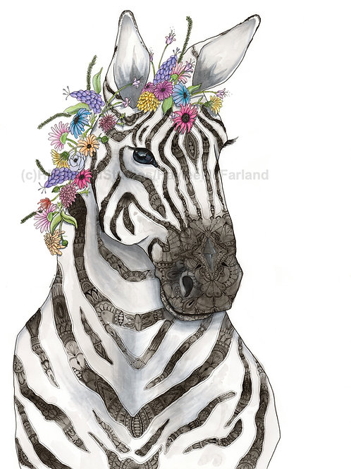 Zebra w/ Flowers LIMITED EDITION PRINT, Watercolor, Pen&Ink by Haylee McFarland
