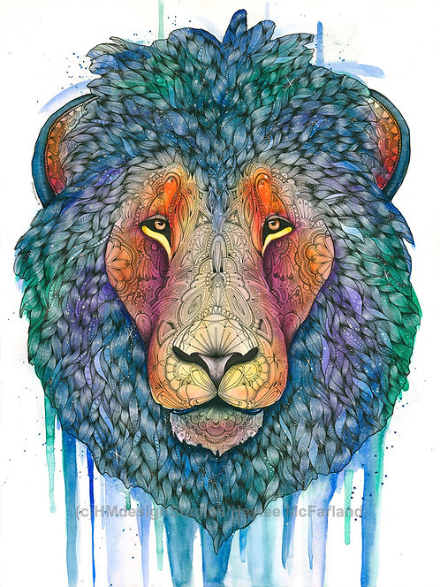 Cosmic Lion Print, Watercolor and Pen and Ink by Haylee McFarland