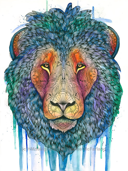 LIMITED EDITON PRINT Cosmic Lion, Watercolor and Pen & Ink by Haylee McFarland