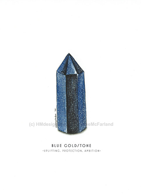 Blue Goldstone Crystal Greeting Cards, Watercolor and Pen & Ink by H. McFarland