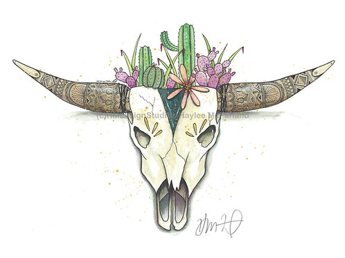 Spikes and Horns (Teal) Watercolor and Pen and Ink by Haylee McFarland