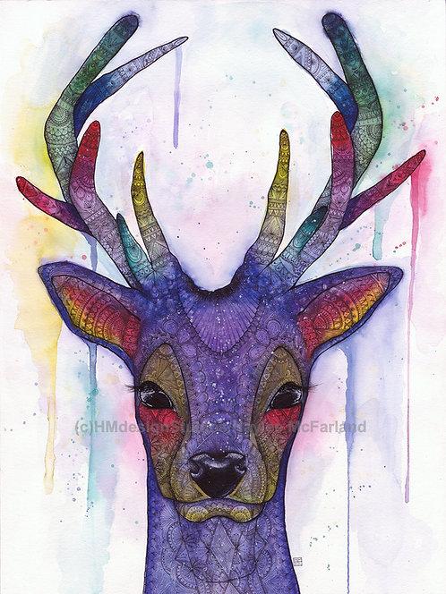 Cosmic Deer ORIGINAL, Watercolor and Pen & Ink by Haylee McFarland