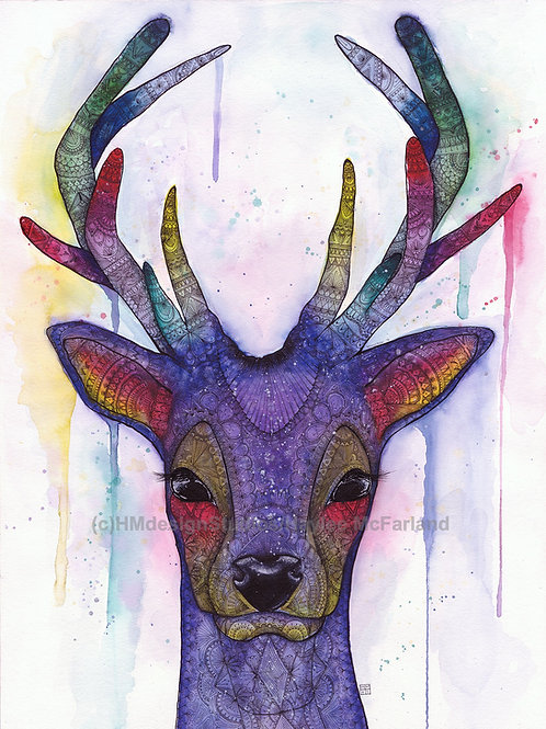 LIMITED EDITON PRINT Cosmic Deer, Watercolor and Pen & Ink by Haylee McFarland