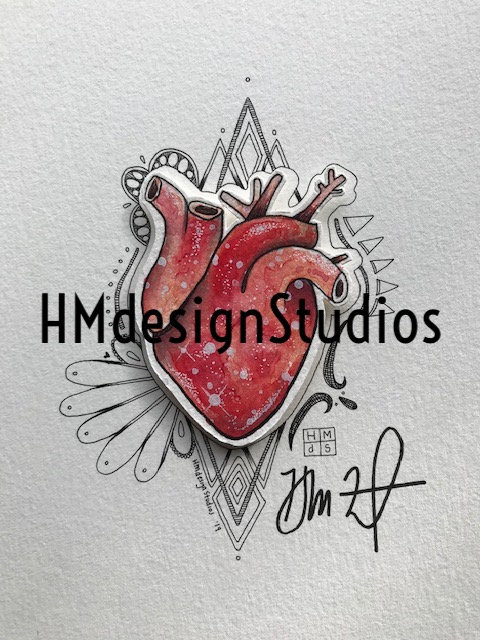 ORIGINAL Red Cosmic Anatomical Heart, Watercolor, Pen,Ink by Haylee McFarland