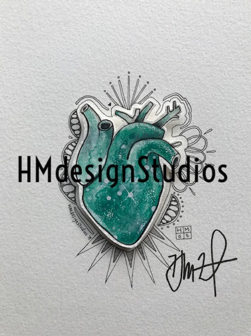 ORIGINAL Teal Cosmic Anatomical Heart, Watercolor, Pen,Ink by Haylee McFarland