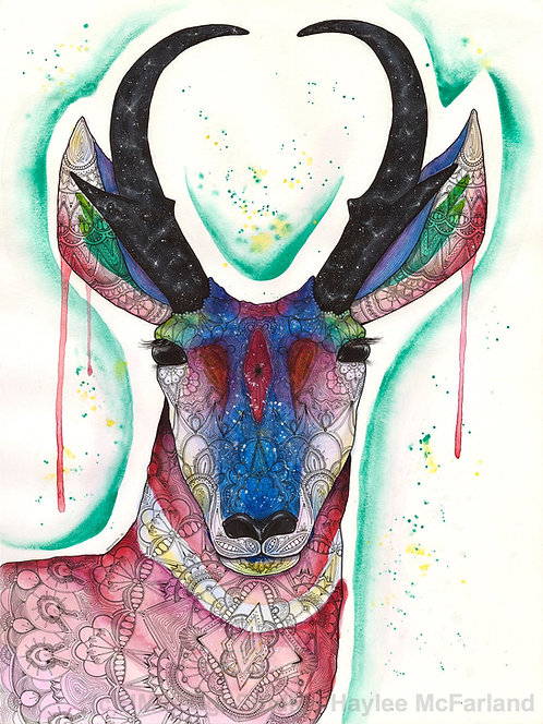 Cosmic Pronghorn Print, Watercolor and Pen and Ink by Haylee McFarland