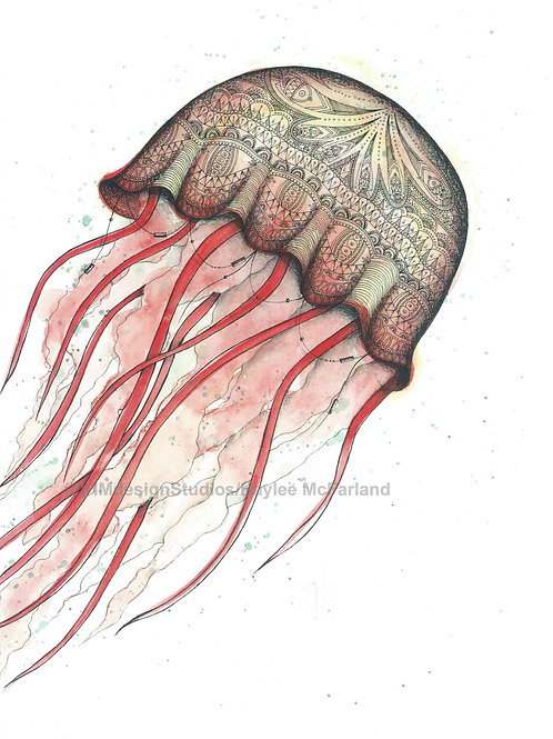 Red Jellyfish Print, Watercolor and Pen and Ink by Haylee McFarland