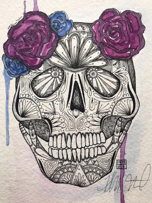 ORIGINAL Sugar Skull, Watercolor and Pen & Ink by Haylee McFarland