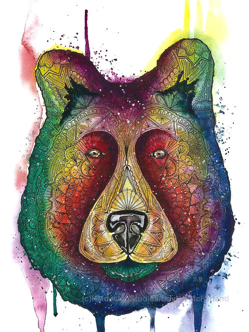 Rainbow Bear ORIGINAL Watercolor and Pen & Ink, by Haylee McFarland