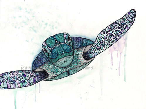 LIMITED EDITION PRINT Cosmic SeaTurtle Watercolor, Pen & Ink by Haylee McFarland