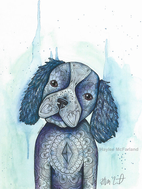 Blue Cocker Spaniel Puppy ORIGINAL, Watercolor and Pen & Ink by Haylee McFarland