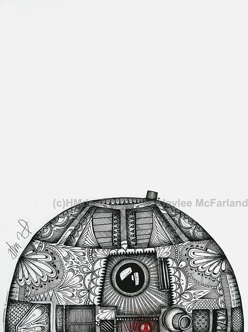 Black and White R2D2 ORIGINAL, Pen and Ink by Haylee McFarland