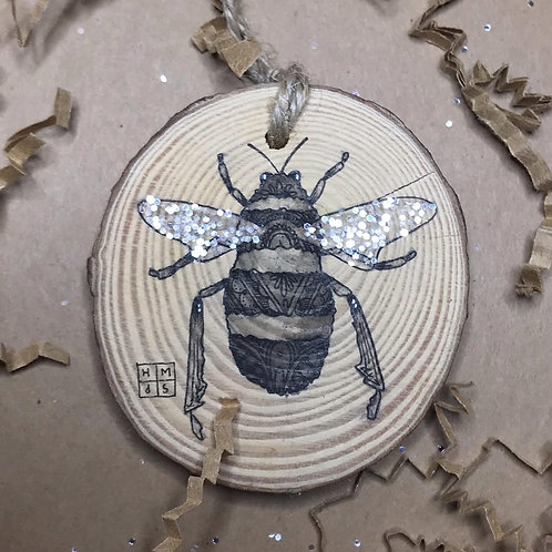 Glitter Bee Ornament, ORIGINAL liquid acrylic and pen & ink, by Haylee McFarland