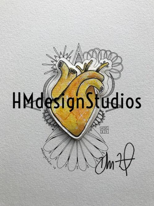 ORIGINAL Yellow Cosmic Anatomical Heart, Watercolor, Pen&Ink by Haylee McFarland